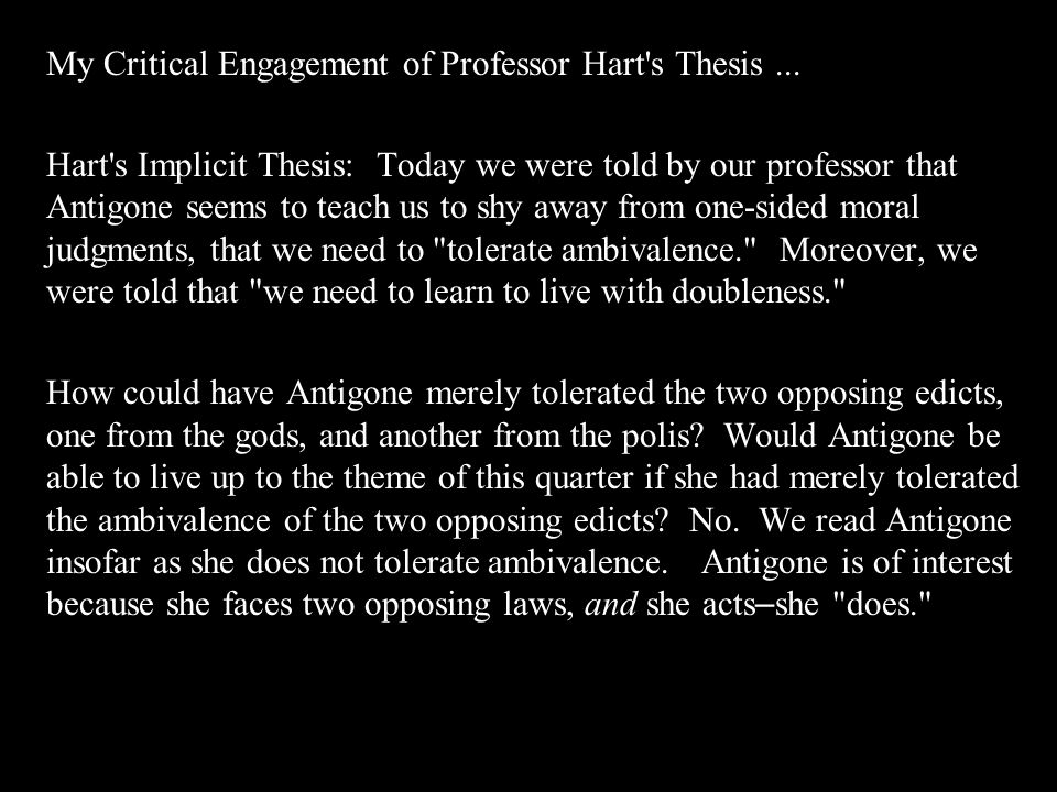 My Critical Engagement of Professor Hart s Thesis ...
