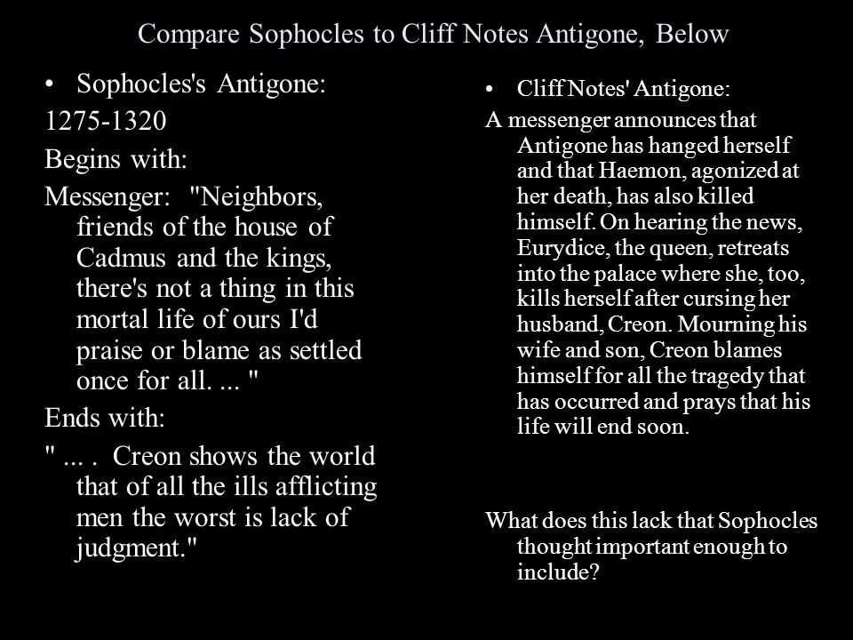 Compare Sophocles to Cliff Notes Antigone, Below