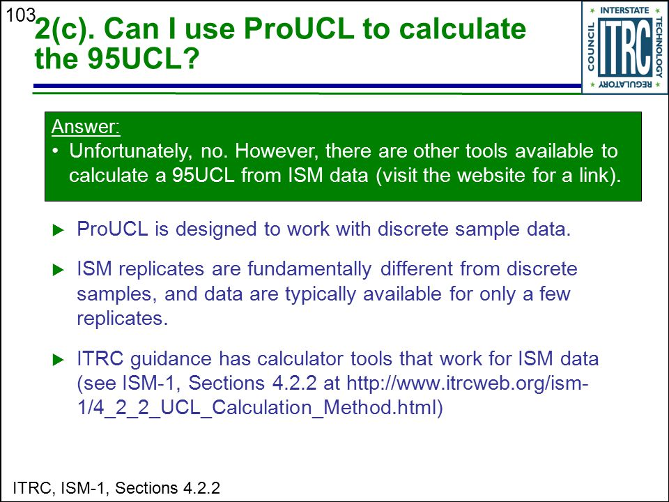 2(c). Can I use ProUCL to calculate the 95UCL