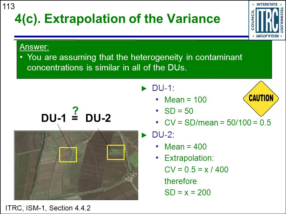 4(c). Extrapolation of the Variance
