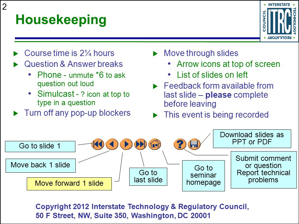 Housekeeping Course time is 2¼ hours Question & Answer breaks