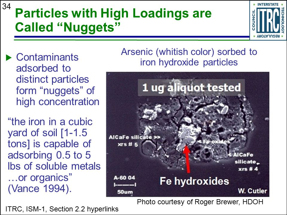 Arsenic (whitish color) sorbed to iron hydroxide particles