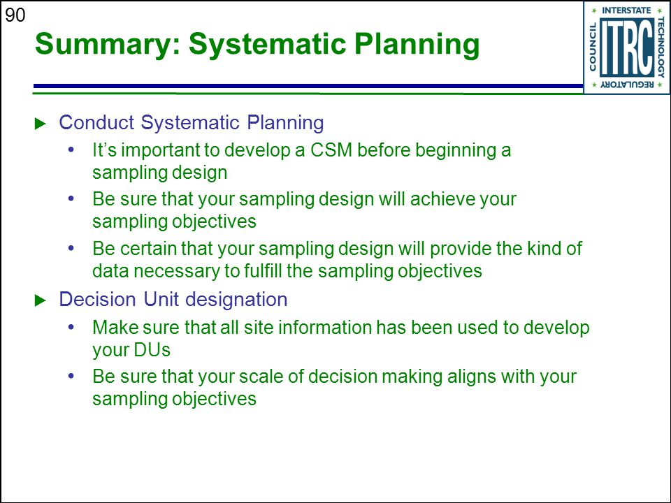 Summary: Systematic Planning