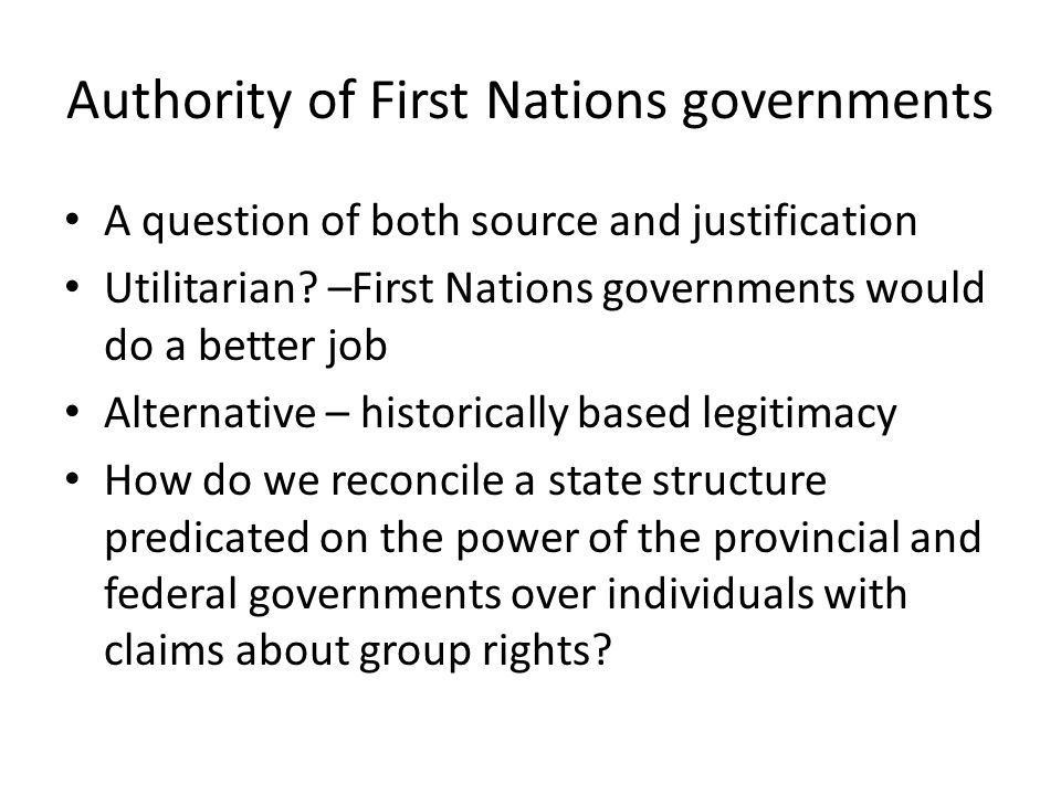Authority of First Nations governments