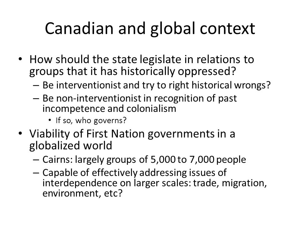 Canadian and global context