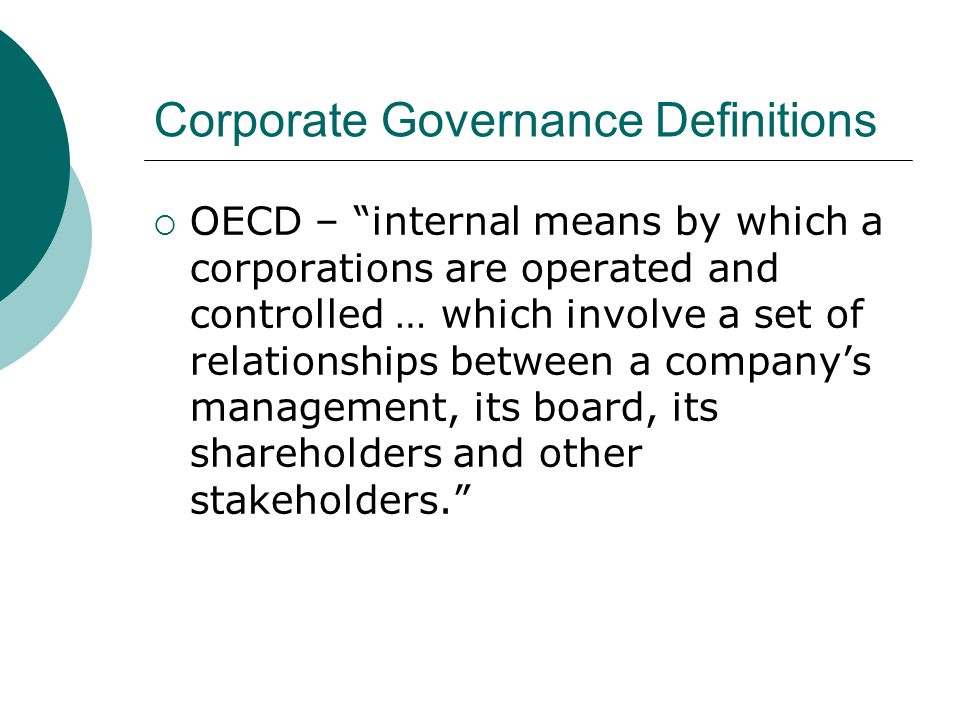 Corporate Governance Definitions
