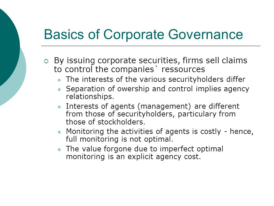 Basics of Corporate Governance