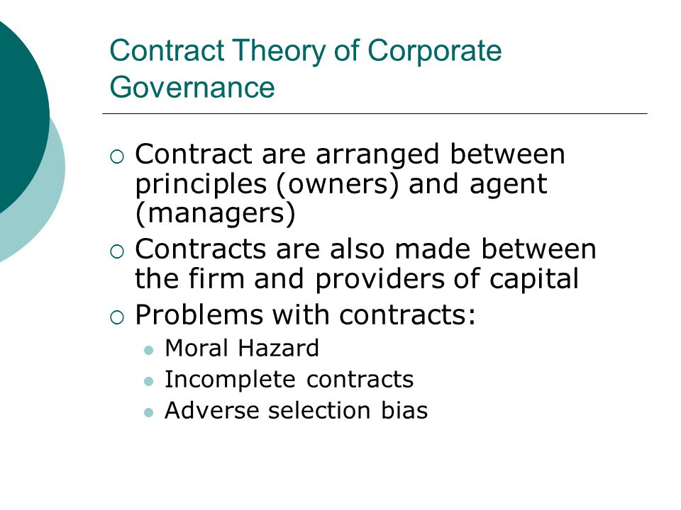 Contract Theory of Corporate Governance