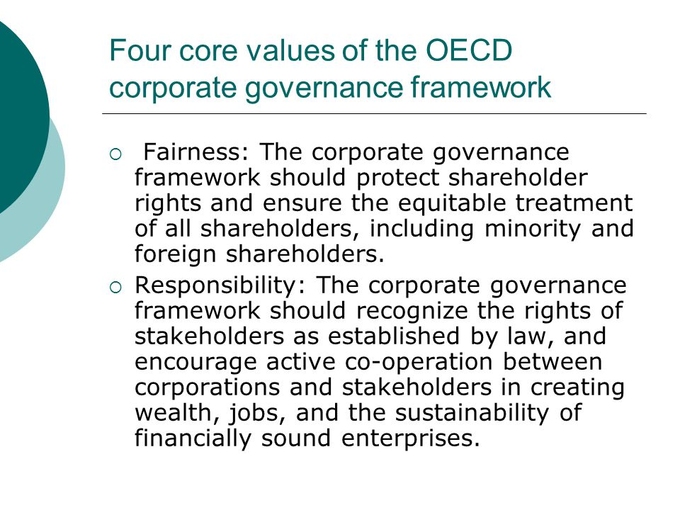 Four core values of the OECD corporate governance framework