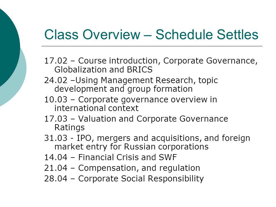 Class Overview – Schedule Settles