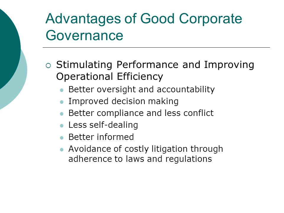 Advantages of Good Corporate Governance