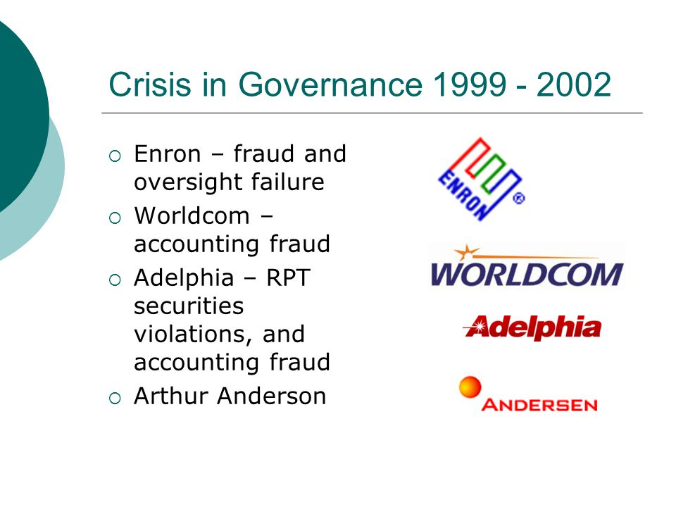 Crisis in Governance 1999 - 2002 Enron – fraud and oversight failure