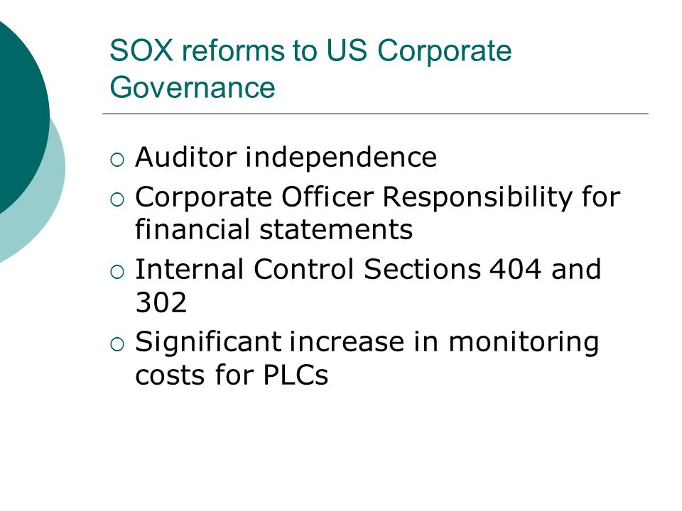 SOX reforms to US Corporate Governance