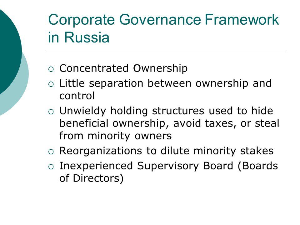 Corporate Governance Framework in Russia