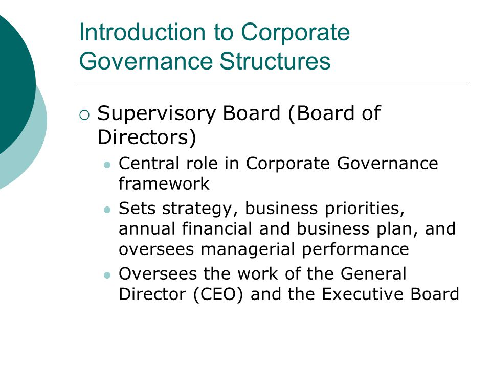 Introduction to Corporate Governance Structures