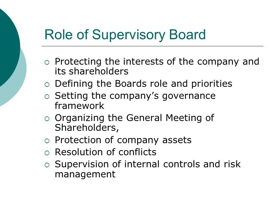 Role of Supervisory Board