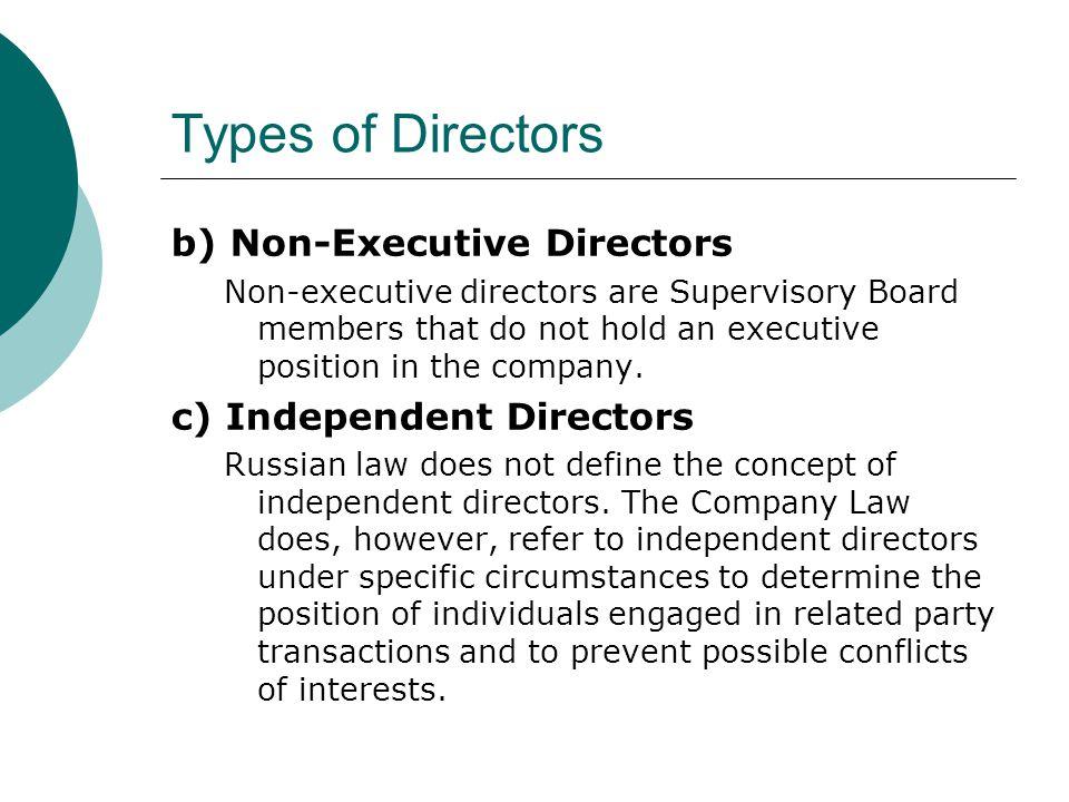 Types of Directors b) Non-Executive Directors c) Independent Directors