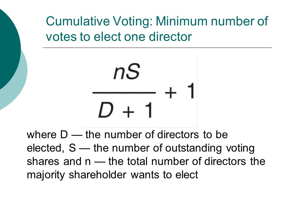 Cumulative Voting: Minimum number of votes to elect one director