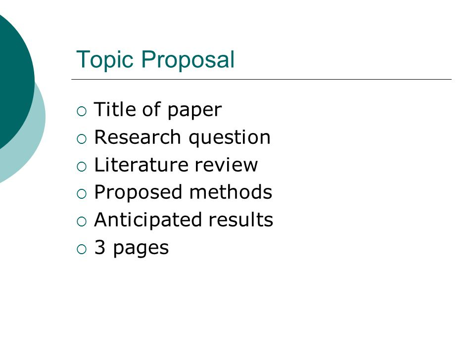 Topic Proposal Title of paper Research question Literature review