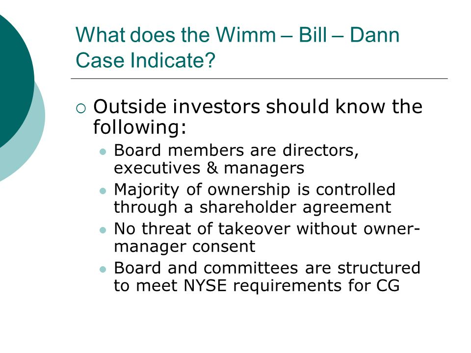 What does the Wimm – Bill – Dann Case Indicate