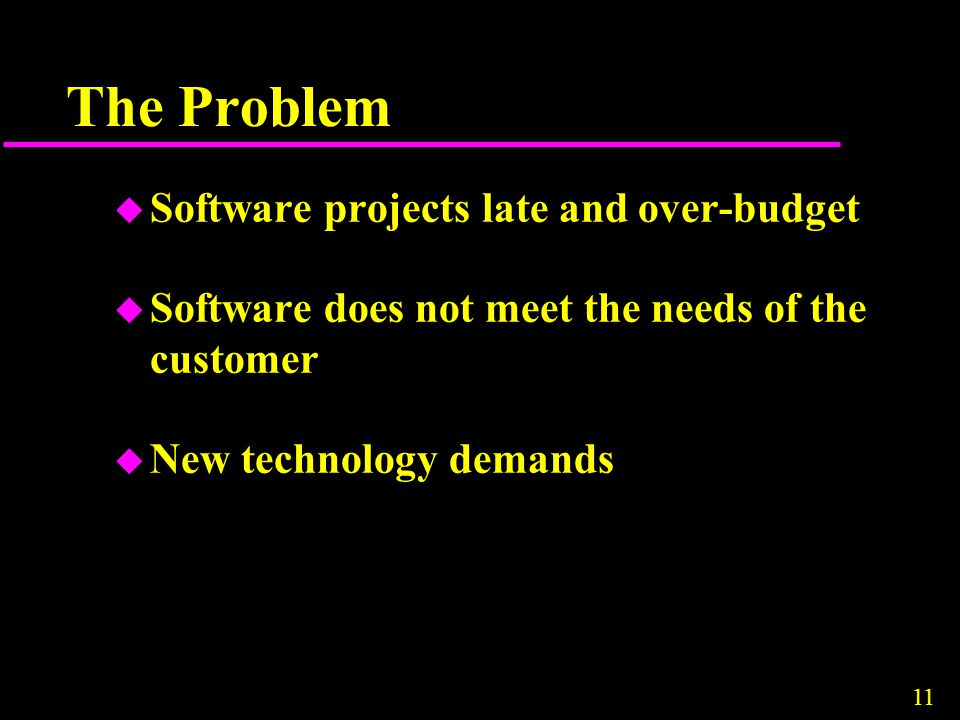 The Problem Software projects late and over-budget