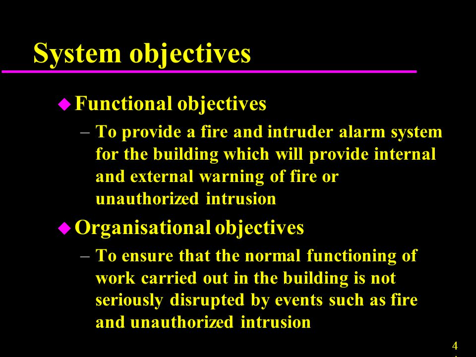 System objectives Functional objectives Organisational objectives