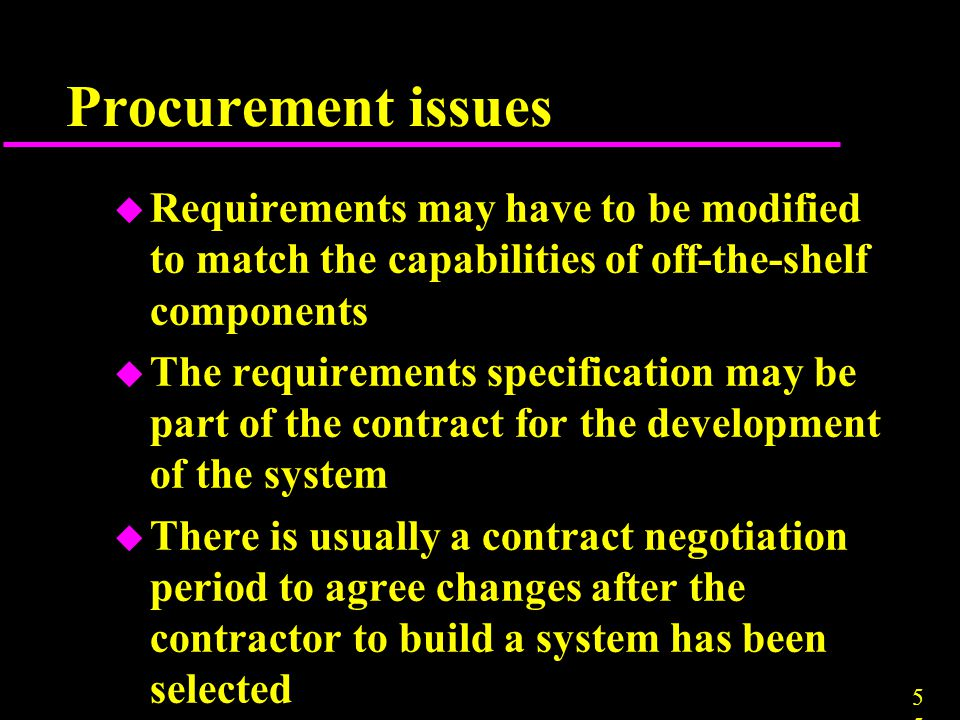 Procurement issues Requirements may have to be modified to match the capabilities of off-the-shelf components.