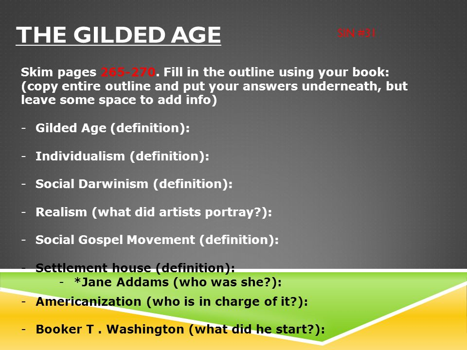 The Gilded Age SIN #31.