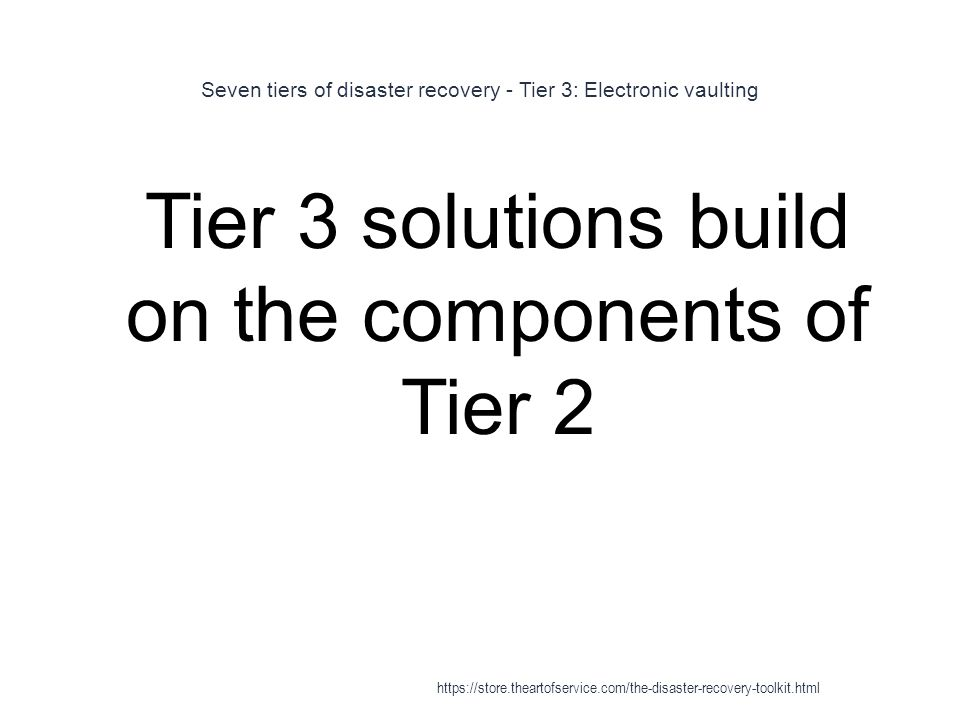 Seven tiers of disaster recovery - Tier 3: Electronic vaulting