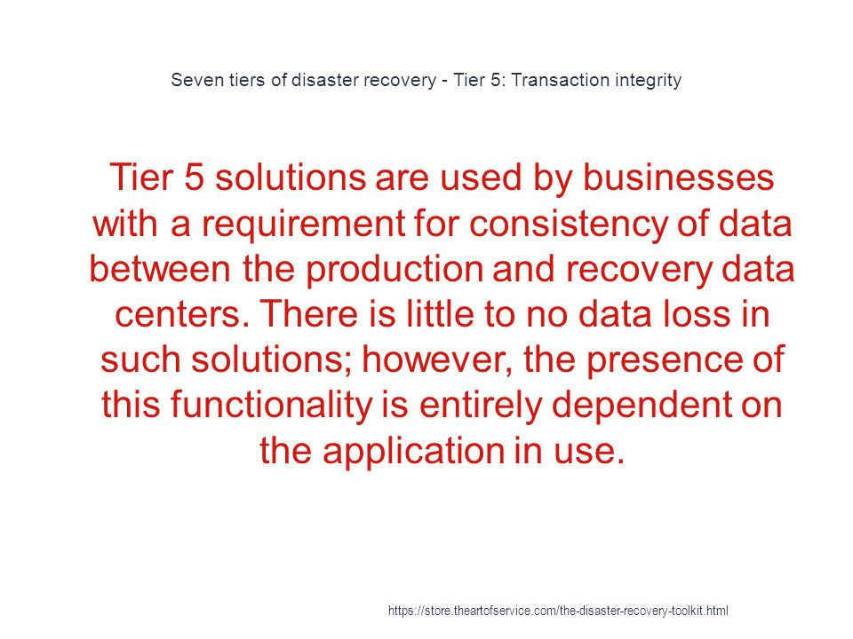 Seven tiers of disaster recovery - Tier 5: Transaction integrity