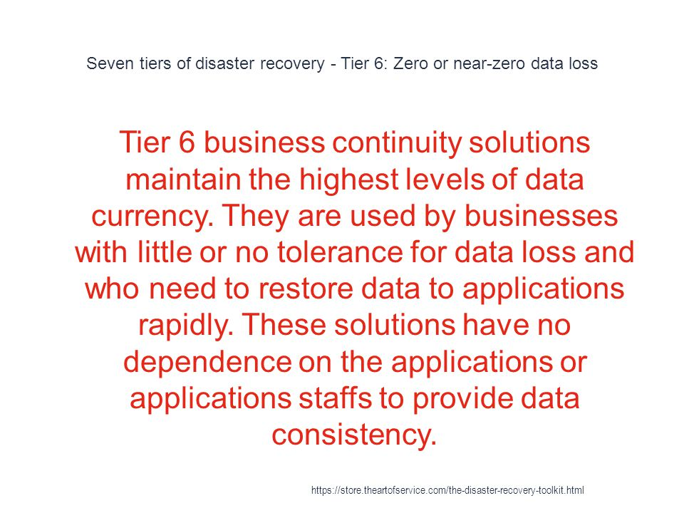 Seven tiers of disaster recovery - Tier 6: Zero or near-zero data loss