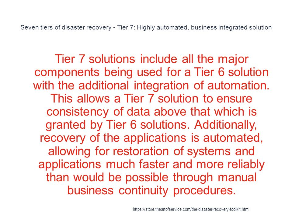 Seven tiers of disaster recovery - Tier 7: Highly automated, business integrated solution