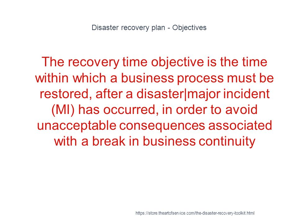 Disaster recovery plan - Objectives