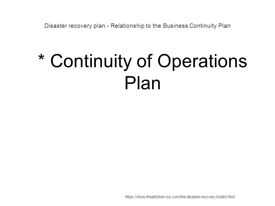 Disaster recovery plan - Relationship to the Business Continuity Plan