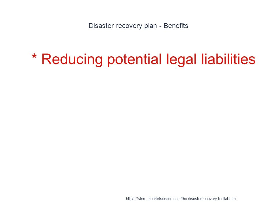 Disaster recovery plan - Benefits