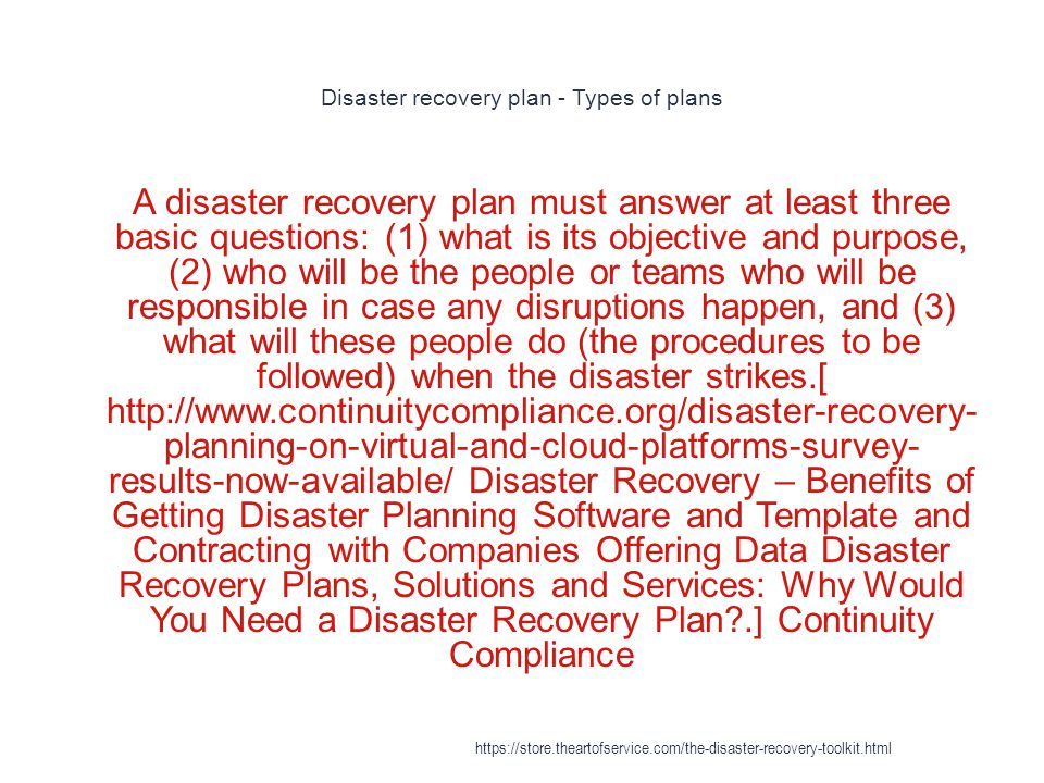 Disaster recovery plan - Types of plans