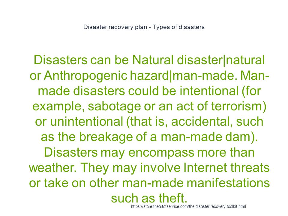Disaster recovery plan - Types of disasters