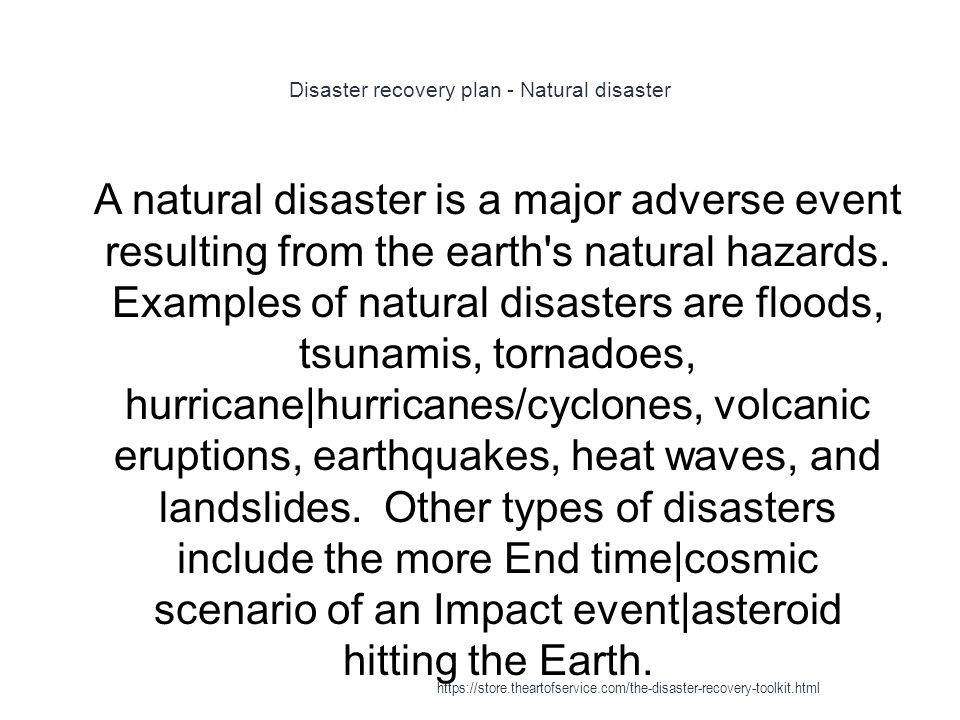 Disaster recovery plan - Natural disaster
