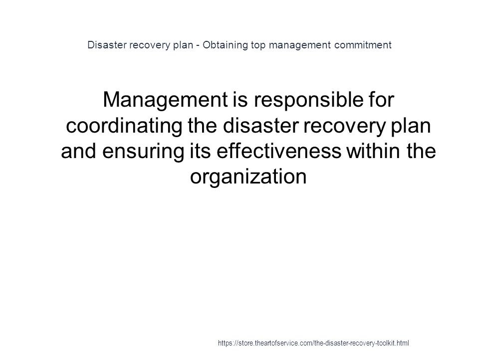 Disaster recovery plan - Obtaining top management commitment