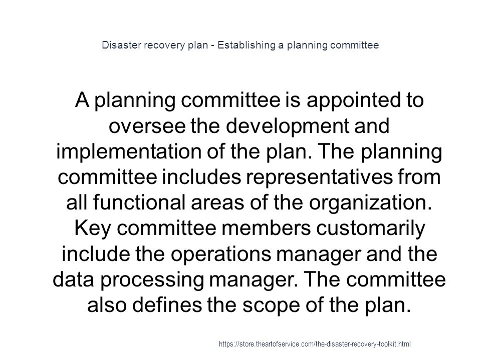 Disaster recovery plan - Establishing a planning committee