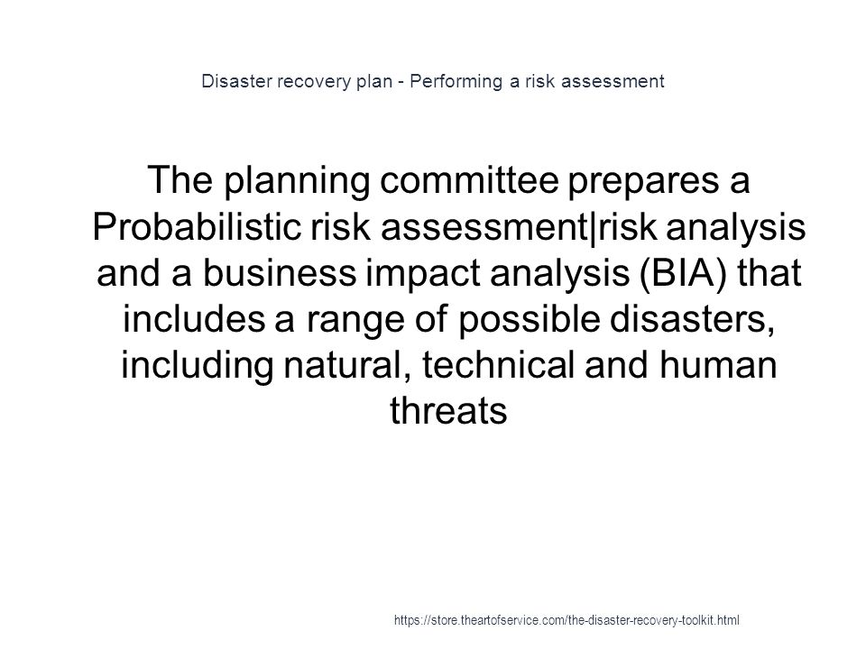 Disaster recovery plan - Performing a risk assessment