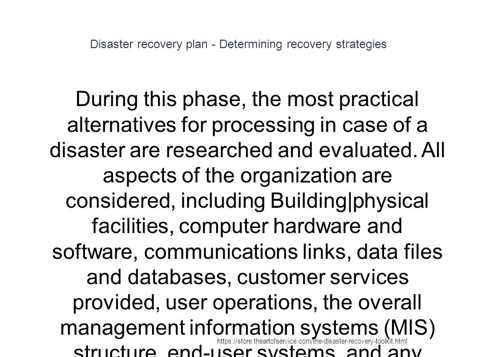 Disaster recovery plan - Determining recovery strategies