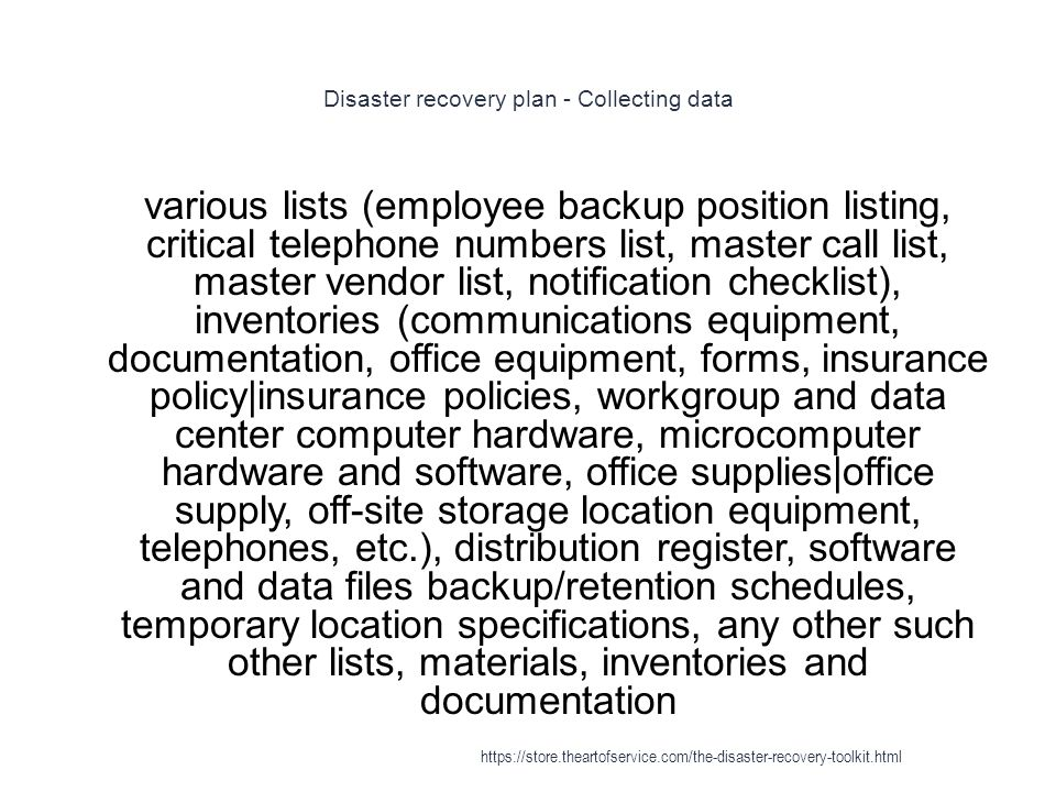 Disaster recovery plan - Collecting data