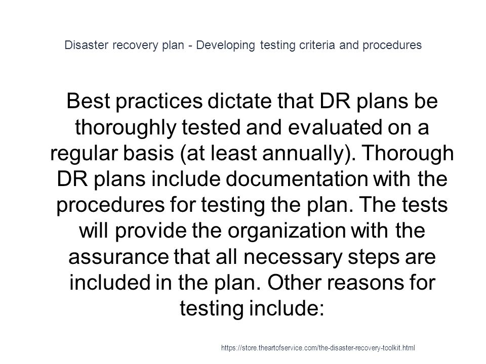 Disaster recovery plan - Developing testing criteria and procedures