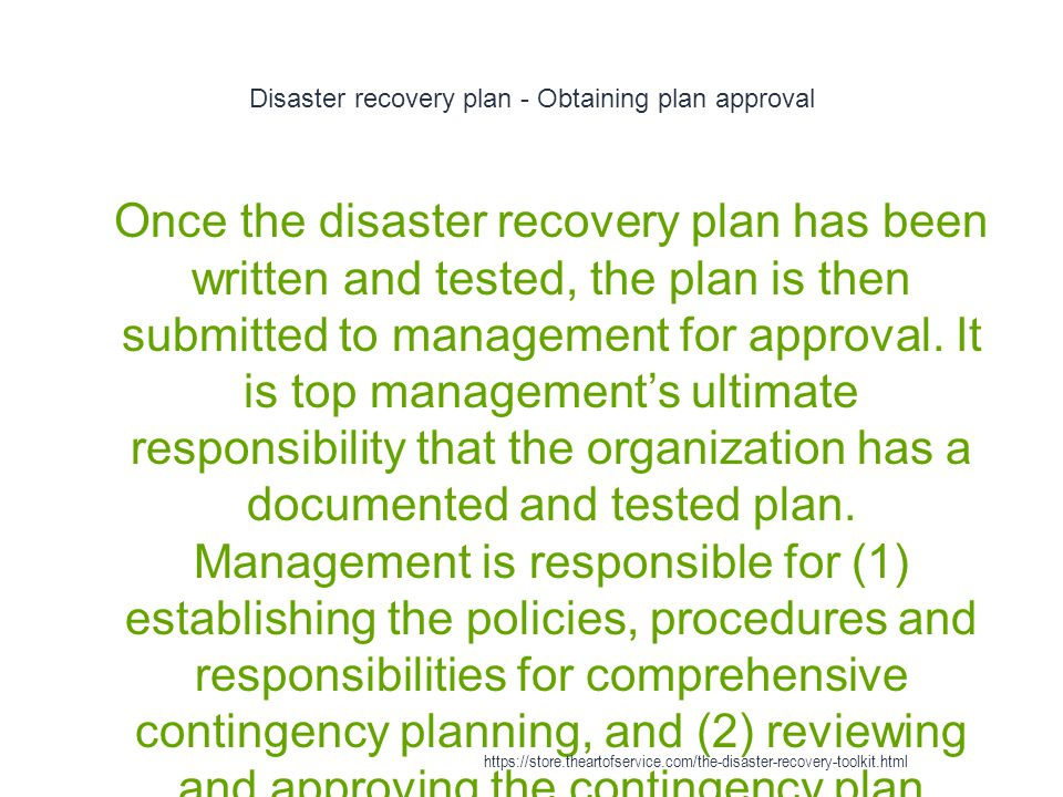 Disaster recovery plan - Obtaining plan approval