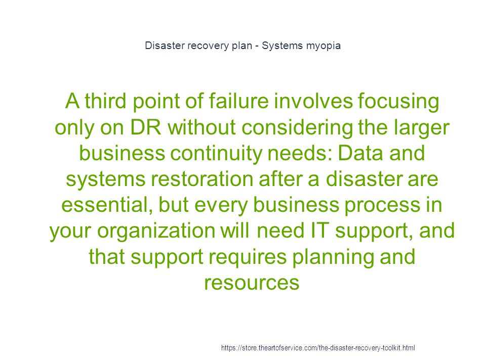 Disaster recovery plan - Systems myopia