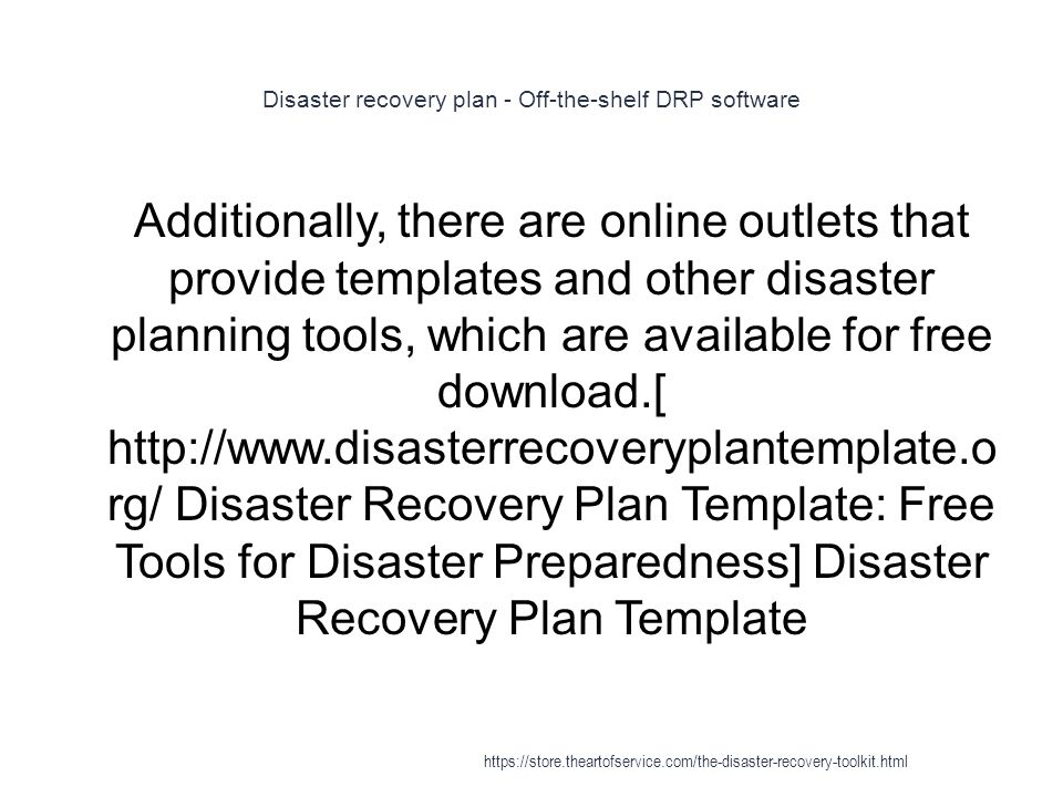 Disaster recovery plan - Off-the-shelf DRP software