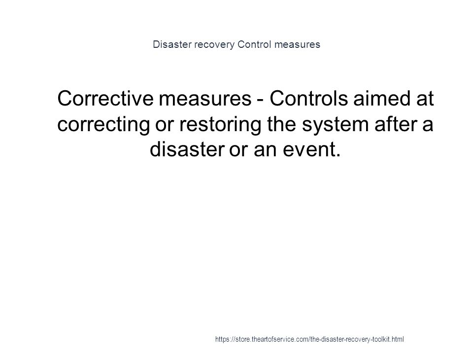 Disaster recovery Control measures