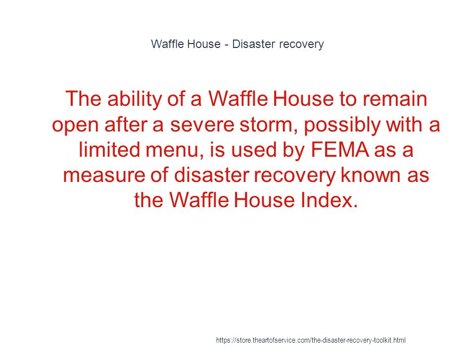 Waffle House - Disaster recovery