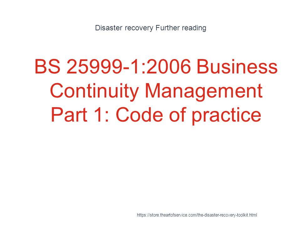 Disaster recovery Further reading